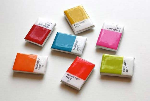 DIY Projects Made With Paint Chips - DIY Pantone Chip Magnet - Best Creative Crafts, Easy DYI Projects You Can Make With Paint Chips - Cool and Crafty How To and Project Tutorials - Crafty DIY Home Decor Ideas That Make Awesome DIY Gifts and Christmas Presents for Friends and Family http://diyjoy.com/diy-projects-paint-chips