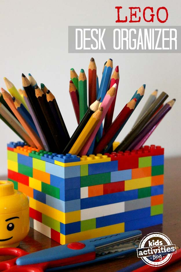 Fun DIY Ideas for Your Desk - Lego Desk Organizer - Cubicles, Ideas for Teens and Student - Cheap Dollar Tree Storage and Decor for Offices and Home - Cool DIY Projects and Crafts for Teens http://diyprojectsforteens.com/diy-ideas-desk