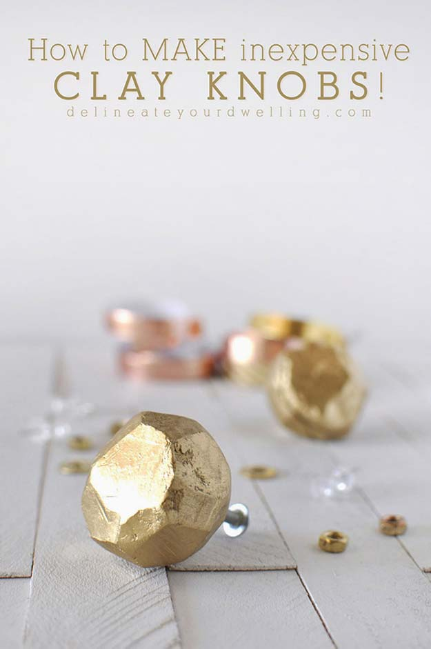 Gold DIY Projects and Crafts - Make Inexpensive Clay Knobs - Easy Room Decor, Wall Art and Accesories in Gold - Spray Paint, Painted Ideas, Creative and Cheap Home Decor - Projects and Crafts for Teens, Apartments, Adults and Teenagers http://diyprojectsforteens.com/diy-projects-gold