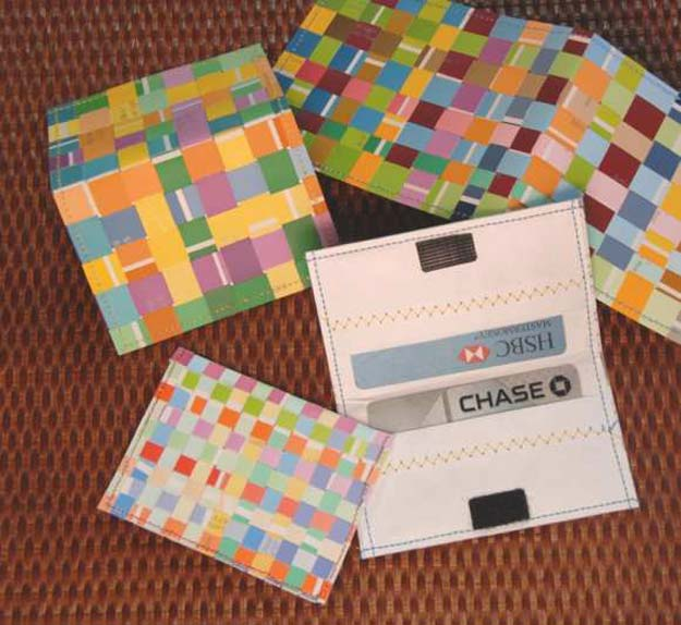 DIY Projects Made With Paint Chips - Woven Credit Card Holder - Best Creative Crafts, Easy DYI Projects You Can Make With Paint Chips - Cool and Crafty How To and Project Tutorials - Crafty DIY Home Decor Ideas That Make Awesome DIY Gifts and Christmas Presents for Friends and Family