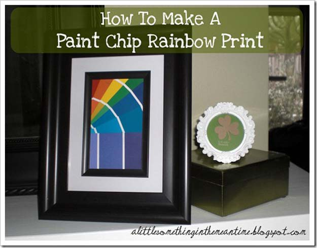 DIY Projects Made With Paint Chips - Paint Chip Rainbow Print - Best Creative Crafts, Easy DYI Projects You Can Make With Paint Chips - Cool and Crafty How To and Project Tutorials - Crafty DIY Home Decor Ideas That Make Awesome DIY Gifts and Christmas Presents for Friends and Family