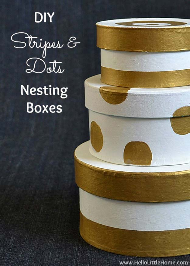 Gold DIY Projects and Crafts - DIY Stripes & Dots Nesting Boxes - Easy Room Decor, Wall Art and Accesories in Gold - Spray Paint, Painted Ideas, Creative and Cheap Home Decor - Projects and Crafts for Teens, Apartments, Adults and Teenagers http://diyprojectsforteens.com/diy-projects-gold