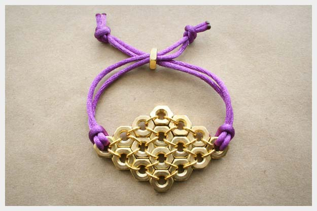DIY Bracelets - Hex Nut Diamond Bracelet - Cool Jewelry Making Tutorials for Making Bracelets at Home - Handmade Bracelet Crafts and Easy DIY Gift for Teens, Girls and Women - With String, Wire, Leather, Beaded, Bangle, Braided, Boho, Modern and Friendship - Cheap and Quick Homemade Jewelry Ideas