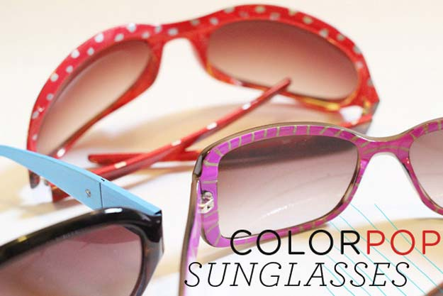 DIY Sunglasses Makeovers - ColorPop Sunglasses - Fun Ways to Decorate and Embellish Sunglasses - Embroider, Paint, Add Jewels and Glitter to Your Shades - Cheap and Easy Projects and Crafts for Teens http://diyprojectsforteens.com/diy-sunglasses-makeovers