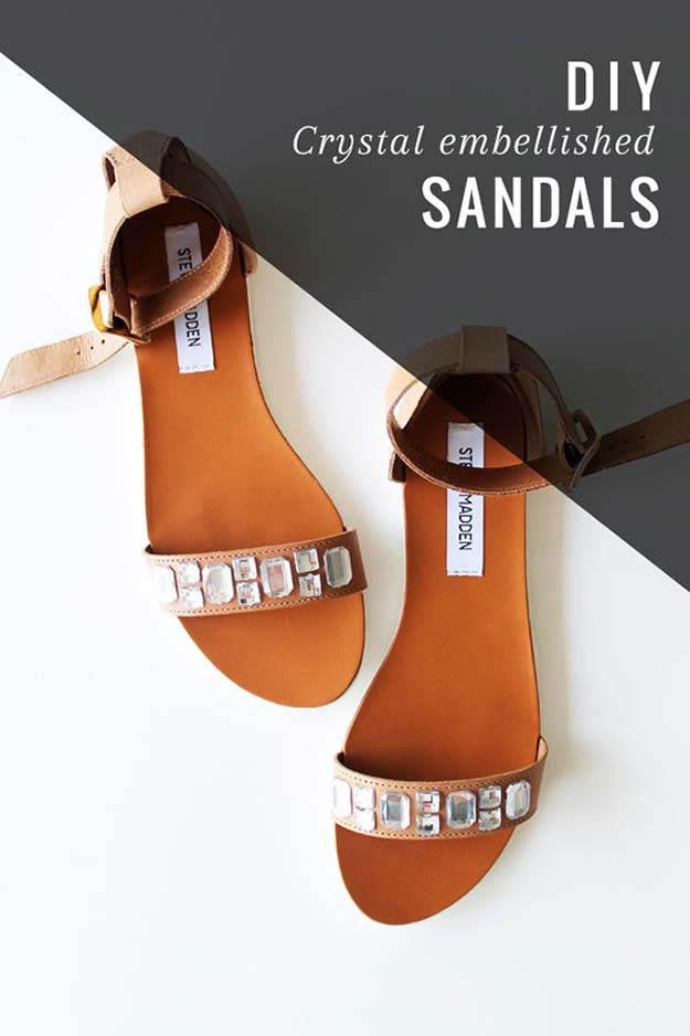 DIY Sandals and Flip Flops - DIY Crystal Embellished Sandals - Creative, Cool and Easy Ways to Make or Update Your Shoes - Decorate Flip Flops with Cheap Dollar Store Crafts and Ideas - Beaded, Leather, Strappy and Painted Sandal Projects - Fun DIY Projects and Crafts for Teens and Teenagers http://diyprojectsforteens.com/diy-sandals
