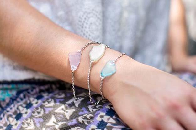 DIY Bracelets - DIY Sea Glass Bracelet - Cool Jewelry Making Tutorials for Making Bracelets at Home - Handmade Bracelet Crafts and Easy DIY Gift for Teens, Girls and Women - With String, Wire, Leather, Beaded, Bangle, Braided, Boho, Modern and Friendship - Cheap and Quick Homemade Jewelry Ideas