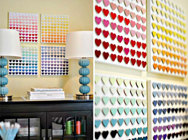 DIY Projects Made With Paint Chips - Paint Chip Heart Art - Best Creative Crafts, Easy DYI Projects You Can Make With Paint Chips - Cool and Crafty How To and Project Tutorials - Crafty DIY Home Decor Ideas That Make Awesome DIY Gifts and Christmas Presents for Friends and Family