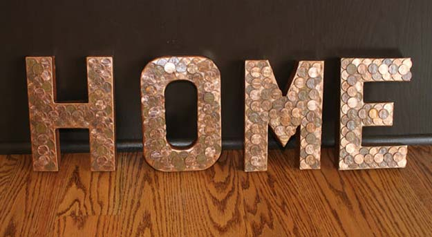 Cool DIYs Made With Pennies and Coins - Penny Letters - Penny Walls, Floors, DIY Penny Table. Art With Pennies, Walls and Furniture Make With Money and Coins. Cool, Creative Tutorials, Home Decor and DIY Projects Made With Old Pennies - Cool DIY Projects and Crafts for Teens
