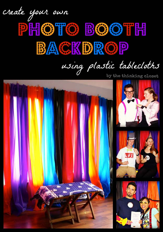 DIY Selfie Ideas - Plastic Tablecloth Backdrop - Cool Ideas for Photo Booth and Picture Station - Props, Light, Mirror, Board, Wall, Background and Tips for Shooting Best Selfies - DIY Projects and Crafts for Teens