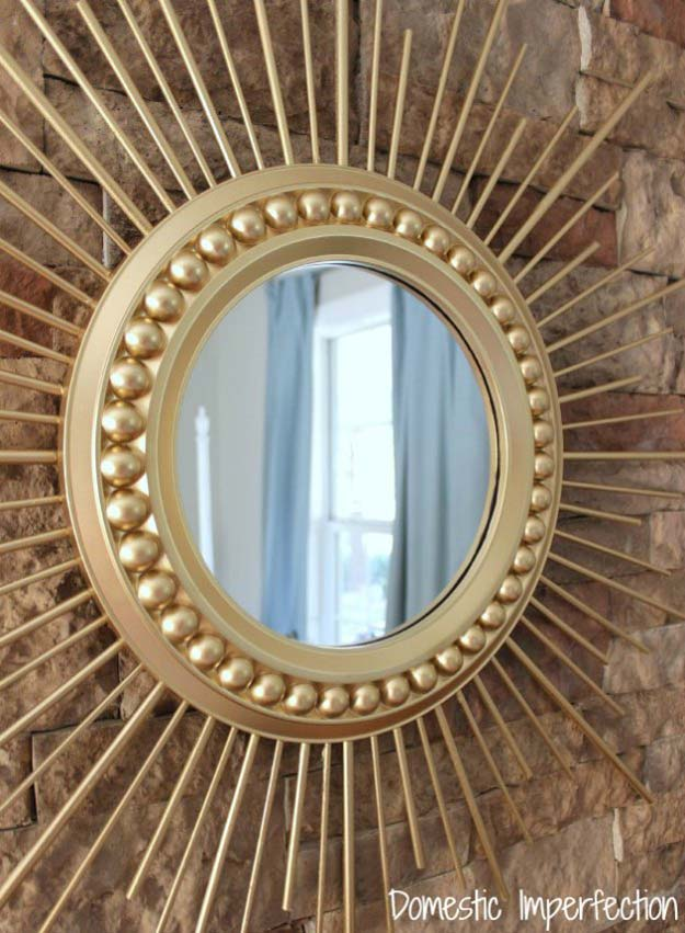 Gold DIY Projects and Crafts - DIY Gold Sunburst Mirror - Easy Room Decor, Wall Art and Accesories in Gold - Spray Paint, Painted Ideas, Creative and Cheap Home Decor - Projects and Crafts for Teens, Apartments, Adults and Teenagers