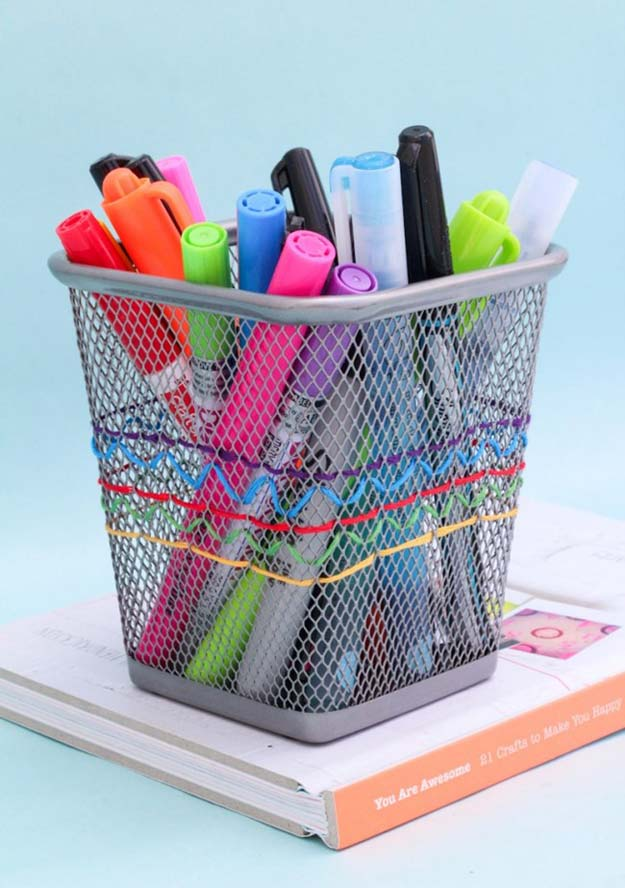 Fun DIY Ideas for Your Desk - Embroidered Pencil Cup - Cubicles, Ideas for Teens and Student - Cheap Dollar Tree Storage and Decor for Offices and Home - Cool DIY Projects and Crafts for Teens http://diyprojectsforteens.com/diy-ideas-desk
