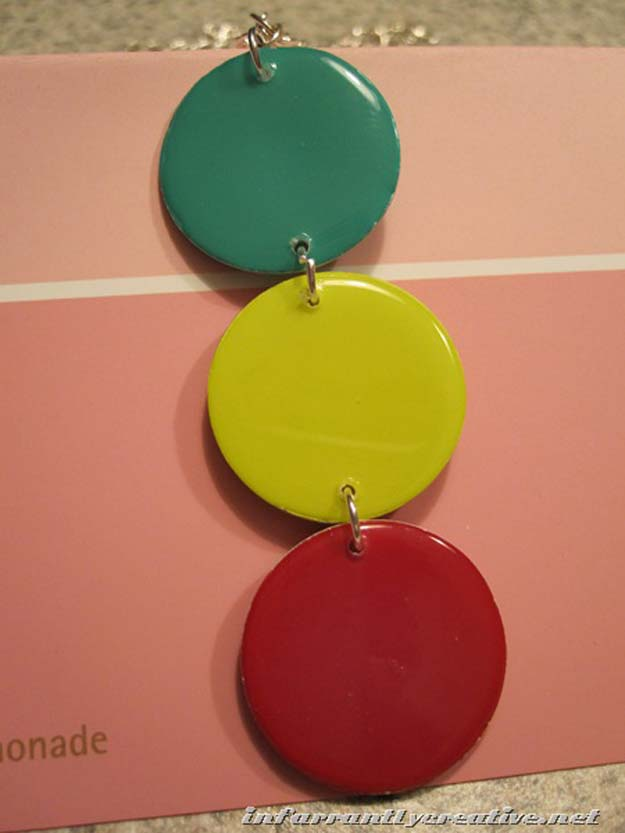 DIY Projects Made With Paint Chips - Paint Chip Pendant - Best Creative Crafts, Easy DYI Projects You Can Make With Paint Chips - Cool and Crafty How To and Project Tutorials - Crafty DIY Home Decor Ideas That Make Awesome DIY Gifts and Christmas Presents for Friends and Family http://diyjoy.com/diy-projects-paint-chips