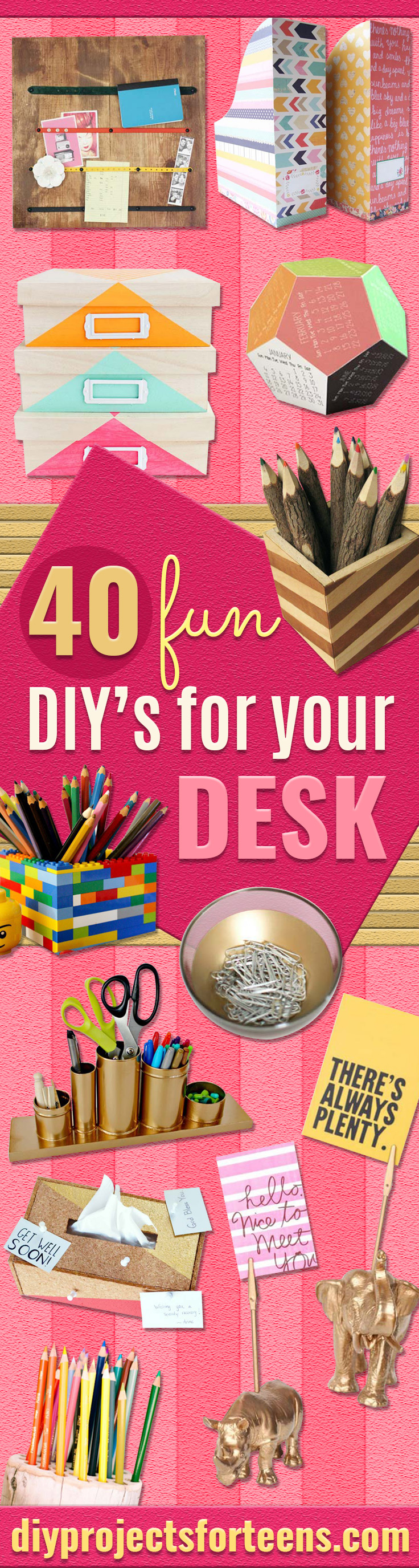 Fun DIY Ideas for Your Desk - Cubicles, Ideas for Teens and Student - Cheap Dollar Tree Storage and Decor for Offices and Home - Cool DIY Projects and Crafts for Teens