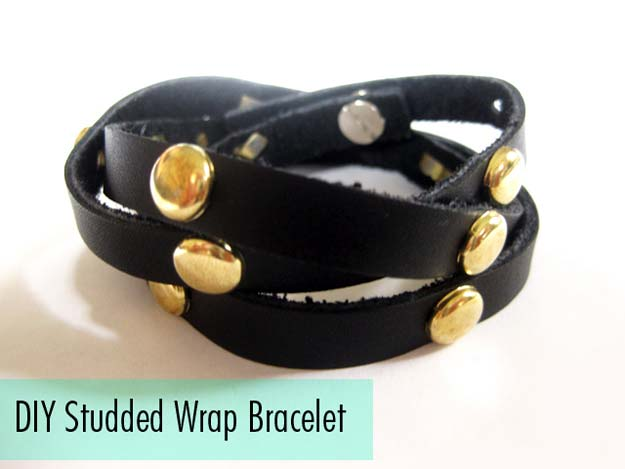 DIY Bracelets - DIY Studded Leather Wrap Bracelet - Cool Jewelry Making Tutorials for Making Bracelets at Home - Handmade Bracelet Crafts and Easy DIY Gift for Teens, Girls and Women - With String, Wire, Leather, Beaded, Bangle, Braided, Boho, Modern and Friendship - Cheap and Quick Homemade Jewelry Ideas