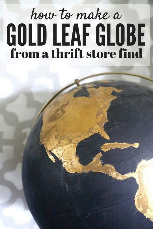 Gold DIY Projects and Crafts - DIY Black & Gold Globe - Easy Room Decor, Wall Art and Accesories in Gold - Spray Paint, Painted Ideas, Creative and Cheap Home Decor - Projects and Crafts for Teens, Apartments, Adults and Teenagers