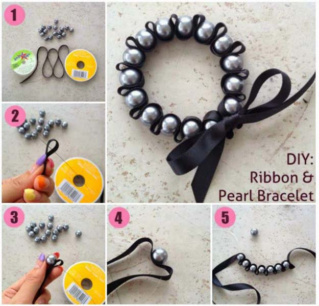crafts to make and sell diy ribbon and pearl bracelet easy step by step