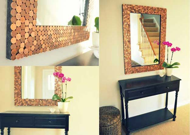 Cool DIYs Made With Pennies and Coins - Penny Tiled Mirror - Penny Walls, Floors, DIY Penny Table. Art With Pennies, Walls and Furniture Make With Money and Coins. Cool, Creative Tutorials, Home Decor and DIY Projects Made With Old Pennies - Cool DIY Projects and Crafts for Teens http://diyprojectsforteens.com/diy-ideas-pennies