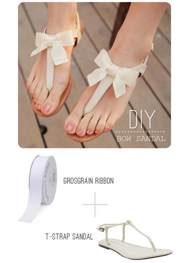 DIY Sandals and Flip Flops - DIY Bow Sandals - Creative, Cool and Easy Ways to Make or Update Your Shoes - Decorate Flip Flops with Cheap Dollar Store Crafts and Ideas - Beaded, Leather, Strappy and Painted Sandal Projects - Fun DIY Projects and Crafts for Teens and Teenagers http://diyprojectsforteens.com/diy-sandals