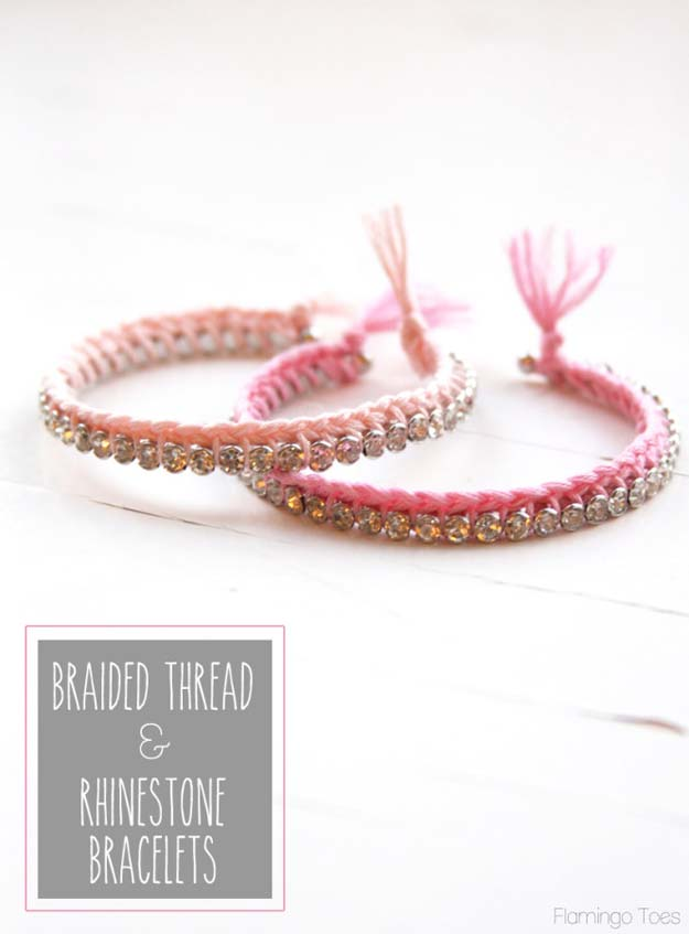 DIY Bracelets - DIY Braided Thread & Rhinestone Bracelet - Cool Jewelry Making Tutorials for Making Bracelets at Home - Handmade Bracelet Crafts and Easy DIY Gift for Teens, Girls and Women - With String, Wire, Leather, Beaded, Bangle, Braided, Boho, Modern and Friendship - Cheap and Quick Homemade Jewelry Ideas