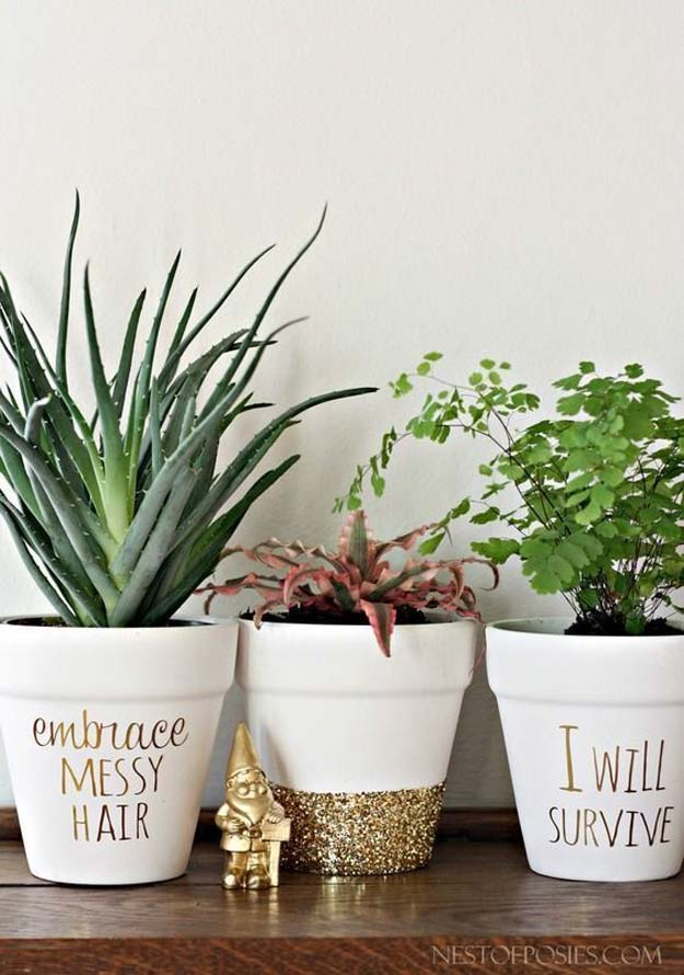 Gold DIY Projects and Crafts - Gold Foil Lettering On Flower Pots - Easy Room Decor, Wall Art and Accesories in Gold - Spray Paint, Painted Ideas, Creative and Cheap Home Decor - Projects and Crafts for Teens, Apartments, Adults and Teenagers
