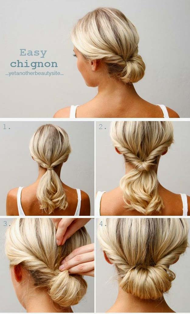 Creative DIY Hair Tutorials - The Easy Chignon - Color, Rainbow, Galaxy and Unique Styles for Long, Short and Medium Hair - Braids, Dyes, Instructions for Teens and Women #hairstyles #hairideas #beauty #teens #easyhairstyles