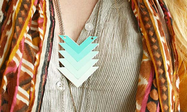 DIY Projects Made With Paint Chips - Chevron Ombre Necklace - Best Creative Crafts, Easy DYI Projects You Can Make With Paint Chips - Cool and Crafty How To and Project Tutorials - Crafty DIY Home Decor Ideas That Make Awesome DIY Gifts and Christmas Presents for Friends and Family