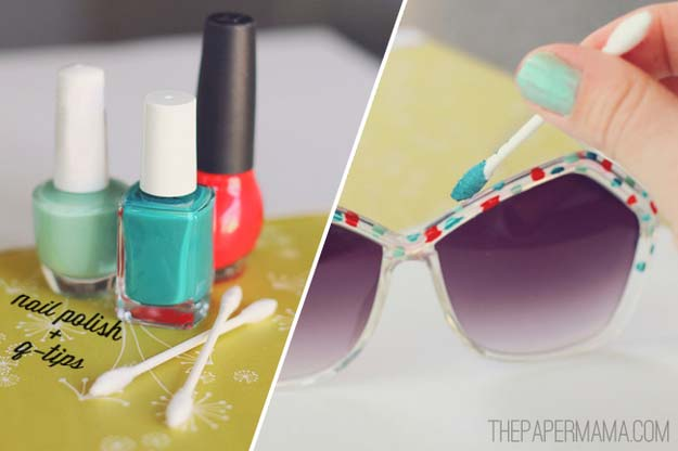 DIY Sunglasses Makeovers - DIY Painted Sunglasses - Fun Ways to Decorate and Embellish Sunglasses - Embroider, Paint, Add Jewels and Glitter to Your Shades - Cheap and Easy Projects and Crafts for Teens http://diyprojectsforteens.com/diy-sunglasses-makeovers