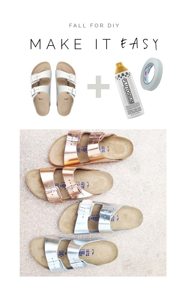 DIY Sandals and Flip Flops - Metalic Birkenstocks - Creative, Cool and Easy Ways to Make or Update Your Shoes - Decorate Flip Flops with Cheap Dollar Store Crafts and Ideas - Beaded, Leather, Strappy and Painted Sandal Projects - Fun DIY Projects and Crafts for Teens and Teenagers http://diyprojectsforteens.com/diy-sandals
