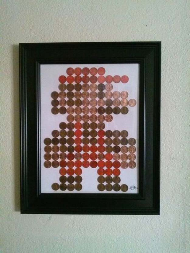 Cool DIYs Made With Pennies and Coins - Penny Mario Pixel Art - Penny Walls, Floors, DIY Penny Table. Art With Pennies, Walls and Furniture Make With Money and Coins. Cool, Creative Tutorials, Home Decor and DIY Projects Made With Old Pennies - Cool DIY Projects and Crafts for Teens