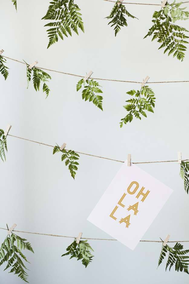 DIY Selfie Ideas - Leaves and Twine - Cool Ideas for Photo Booth and Picture Station - Props, Light, Mirror, Board, Wall, Background and Tips for Shooting Best Selfies - DIY Projects and Crafts for Teens