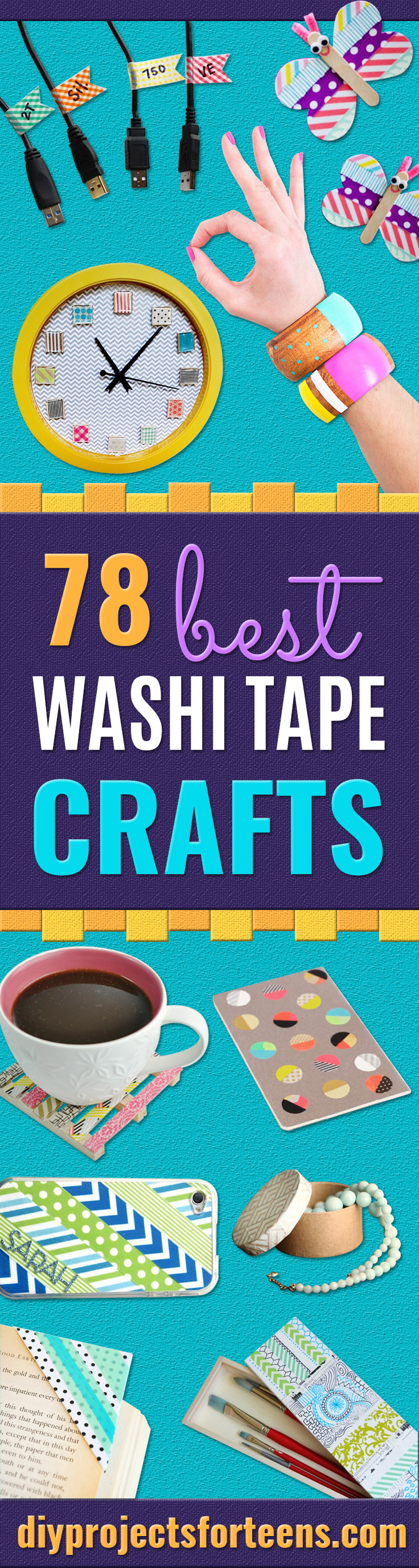 Washi Tape Crafts - Wall Art, Frames, Cards, Pencils, Room Decor and DIY Gifts, Back To School Supplies - Creative, Fun Craft Ideas for Teens, Tweens and Teenagers - Step by Step Tutorials and Instructions http://diyprojectsforteens.com/washi-tape-crafts