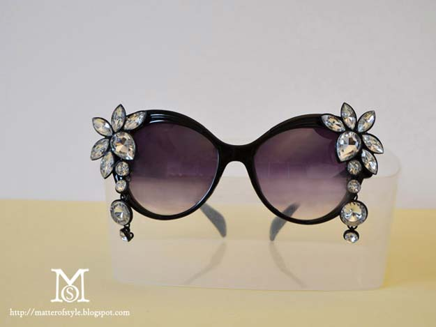 DIY Sunglasses Makeovers - DIY Bejewelled Sunglasses - Fun Ways to Decorate and Embellish Sunglasses - Embroider, Paint, Add Jewels and Glitter to Your Shades - Cheap and Easy Projects and Crafts for Teens http://diyprojectsforteens.com/diy-sunglasses-makeovers