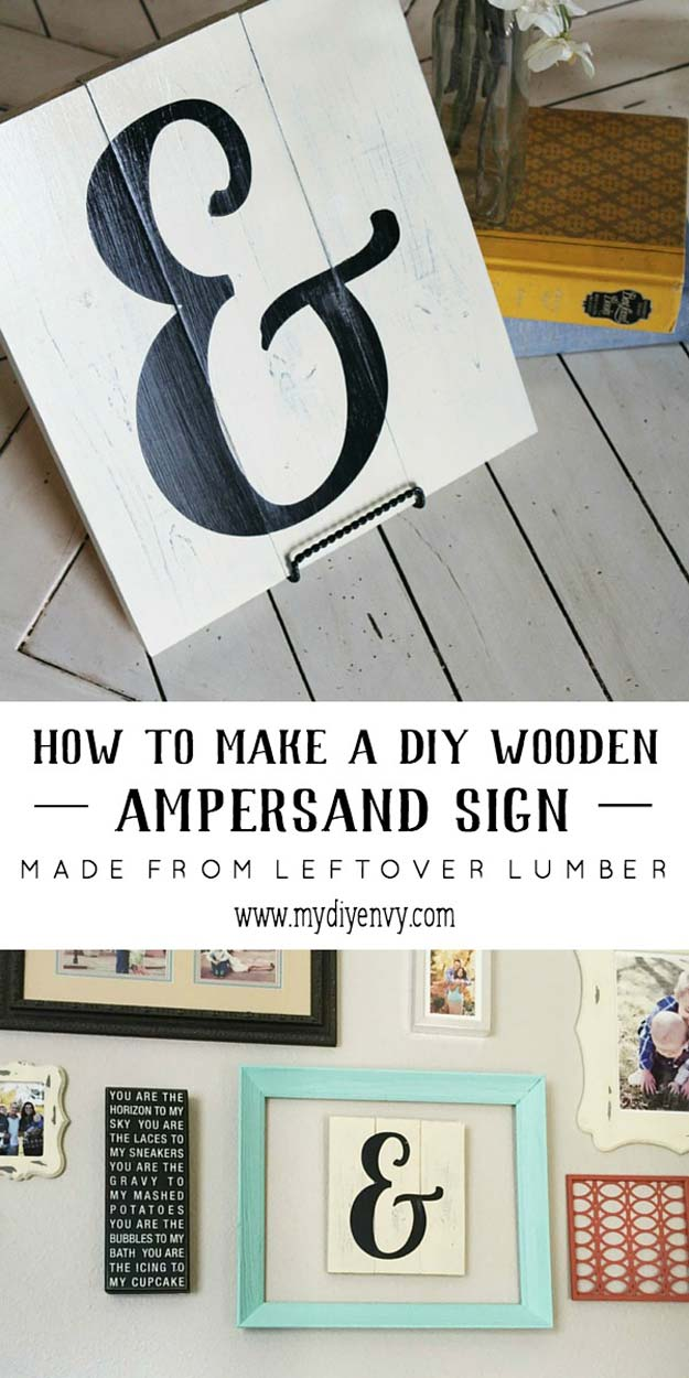 DIY Room Decor Ideas in Black and White - DIY Ampersand Sign - Creative Home Decor and Room Accessories - Cheap and Easy Projects and Crafts for Wall Art, Bedding, Pillows, Rugs and Lighting - Fun Ideas and Projects for Teens, Apartments, Adutls and Teenagers