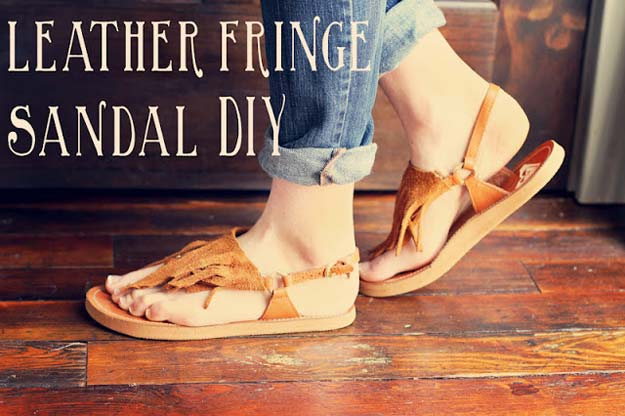DIY Sandals and Flip Flops - DIY Leather Fringe Sandals - Creative, Cool and Easy Ways to Make or Update Your Shoes - Decorate Flip Flops with Cheap Dollar Store Crafts and Ideas - Beaded, Leather, Strappy and Painted Sandal Projects - Fun DIY Projects and Crafts for Teens and Teenagers http://diyprojectsforteens.com/diy-sandals