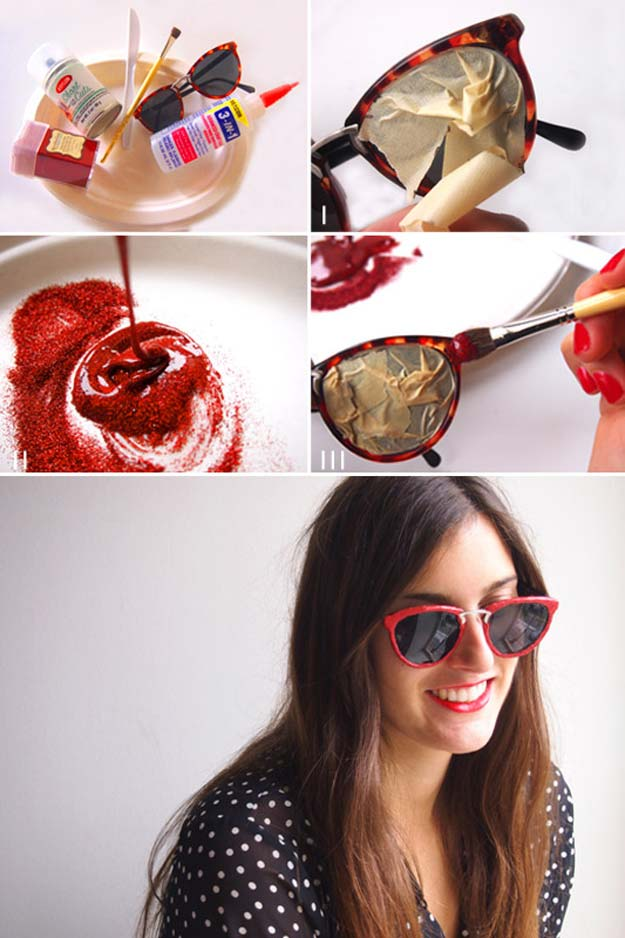 DIY Sunglasses Makeovers - Miu Miu Inspired Sunnies - Fun Ways to Decorate and Embellish Sunglasses - Embroider, Paint, Add Jewels and Glitter to Your Shades - Cheap and Easy Projects and Crafts for Teens http://diyprojectsforteens.com/diy-sunglasses-makeovers