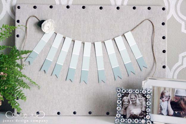 DIY Projects Made With Paint Chips - Paint Chip Garland - Best Creative Crafts, Easy DYI Projects You Can Make With Paint Chips - Cool and Crafty How To and Project Tutorials - Crafty DIY Home Decor Ideas That Make Awesome DIY Gifts and Christmas Presents for Friends and Family