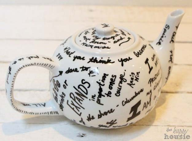 Sharpie Crafts For Teens, Kids and Adults - Sharpie art and quote teapot make a cool homemade gift for mom or dad - DIY Projects and Ideas with Sharpies Using Markers on Fabric, Glass, Mugs, T- Shirts, Plates, Paper - Creative Arts and Crafts Ideas for Room Decor, Gifts and Fun Fashion