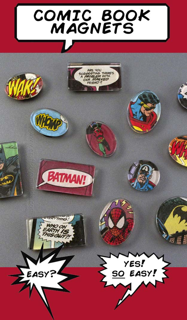 Crafts to Make and Sell - Superhero Comic Book Magnet - Easy Step by Step Tutorials for Fun, Cool and Creative Ways for Teenagers to Make Money Selling Stuff - Room Decor, Accessories, Gifts and More http://diyprojectsforteens.com/diy-crafts-to-make-and-sell