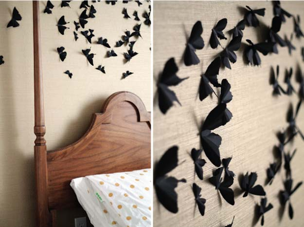 DIY Room Decor Ideas in Black and White - Trimmed Out and Butterflied - Creative Home Decor and Room Accessories - Cheap and Easy Projects and Crafts for Wall Art, Bedding, Pillows, Rugs and Lighting - Fun Ideas and Projects for Teens, Apartments, Adutls and Teenagers http://diyprojectsforteens.com/diy-decor-black-white