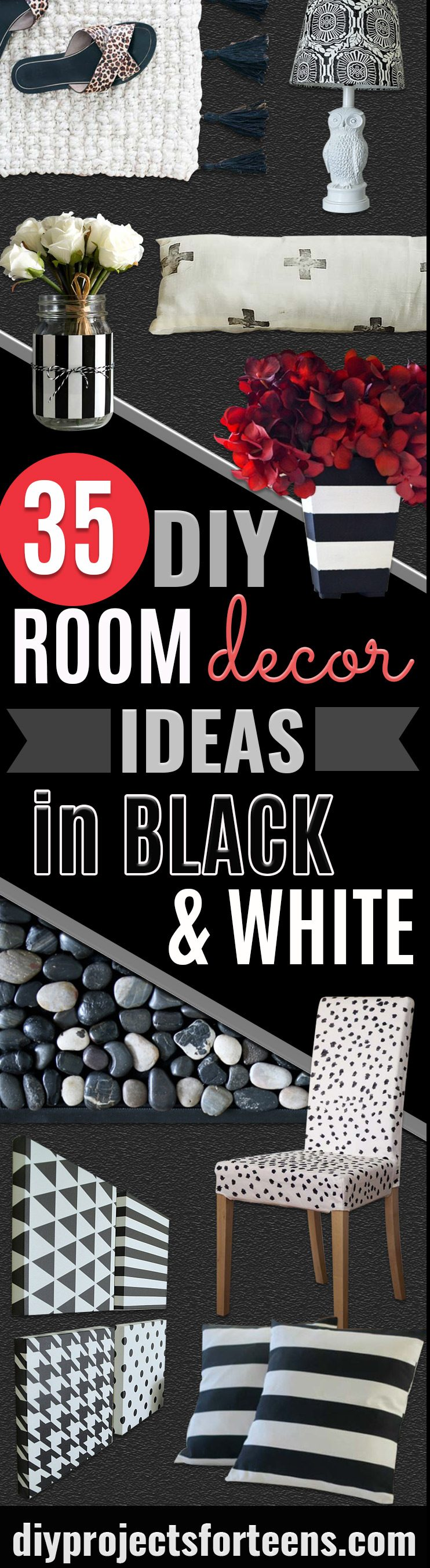 DIY Room Decor Ideas in Black and White - Creative Home Decor and Room Accessories - Cheap and Easy Projects and Crafts for Wall Art, Bedding, Pillows, Rugs and Lighting - Fun Ideas and Projects for Teens, Apartments, Adutls and Teenagers http://stage.diyprojectsforteens.com/diy-decor-black-white