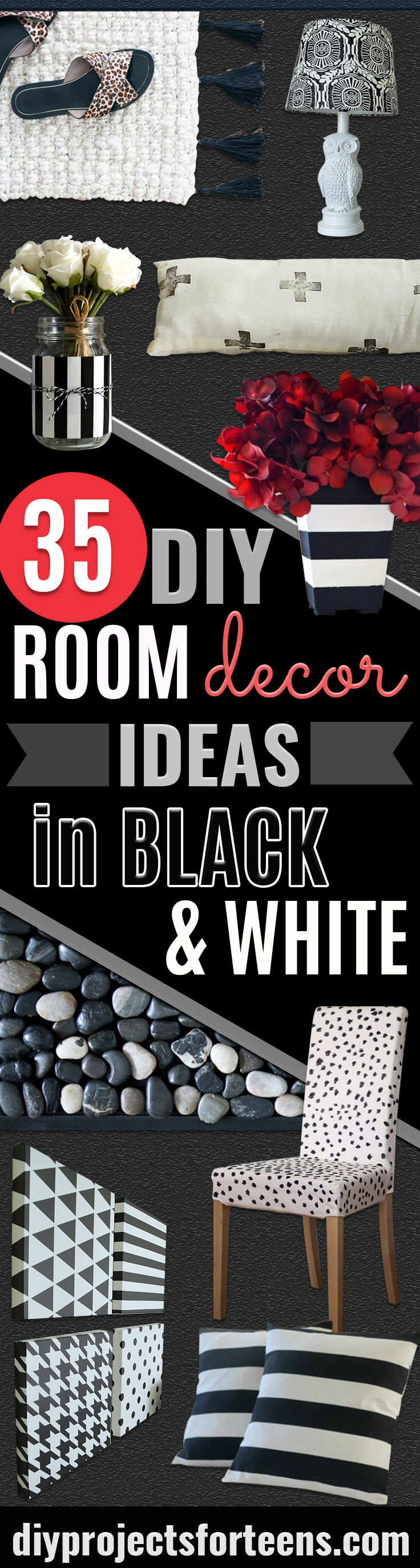 35 diy room decor ideas in black and white - diy projects for teens