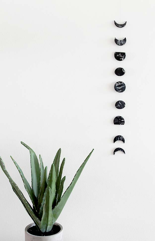 DIY Room Decor Ideas in Black and White - DIY Marble Moon Phase Wall Hanging - Creative Home Decor and Room Accessories - Cheap and Easy Projects and Crafts for Wall Art, Bedding, Pillows, Rugs and Lighting - Fun Ideas and Projects for Teens, Apartments, Adutls and Teenagers