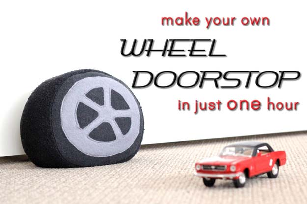 DIY Room Decor Ideas for Boys - - DIY Car Wheel Doorstop - Teen Bedroom Decor Idea for Boy - Wall Art, Lighting, Lamps, Shelves, Bedding, Curtains and Rugs for Boy Rooms - Easy Step by Step Tutorials and Projects for Decorating Teens and Tweens Rooms http://diyprojectsforteens.com/diy-room-decor-boys