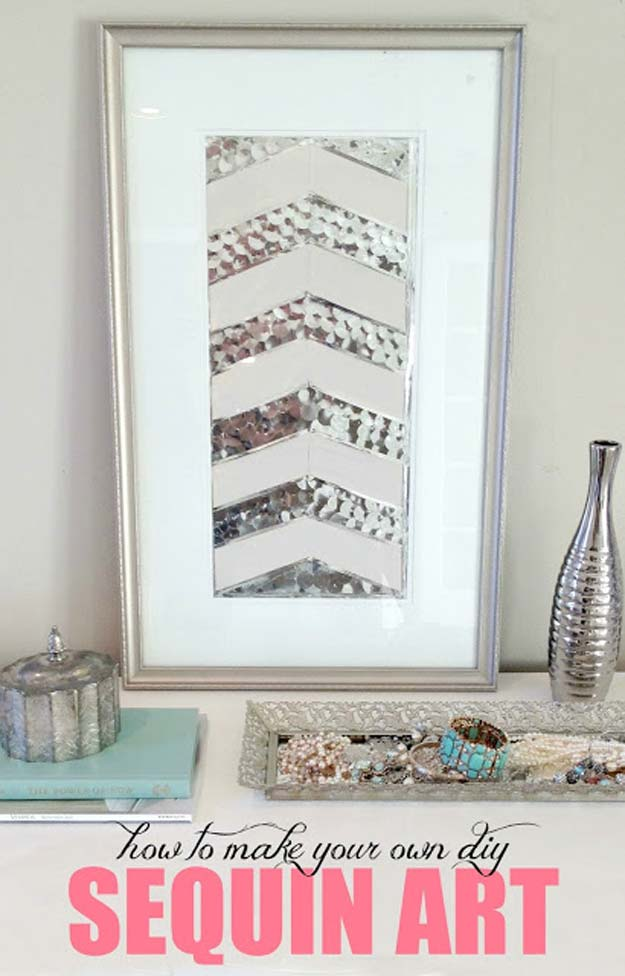 All White DIY Room Decor - How To Make DIY Sequin Art - Creative Home Decor Ideas for the Bedroom and Teen Rooms - Do It Yourself Crafts and White Wall Art, Bedding, Curtains, Lamps, Lighting, Rugs and Accessories - Easy Room Decoration Ideas for Girls, Teens and Tweens - Cute DIY Gifts and Projects With Step by Step Tutorials and Instructions http://diyprojectsforteens.com/diy-room-decor-white