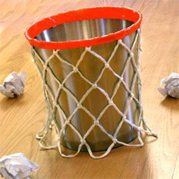 DIY Room Decor Ideas for Boys - - DIY Basketball Themed Trash Can - Teen Bedroom Decor Idea for Boy - Wall Art, Lighting, Lamps, Shelves, Bedding, Curtains and Rugs for Boy Rooms - Easy Step by Step Tutorials and Projects for Decorating Teens and Tweens Rooms http://diyprojectsforteens.com/diy-room-decor-boys