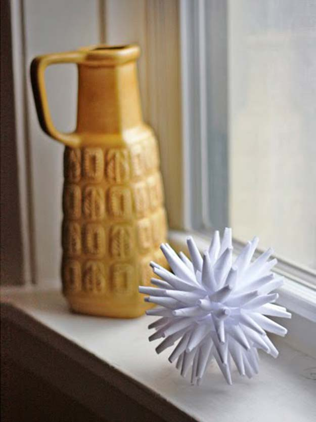 All White DIY Room Decor - DIY Modern Paper Ornament - Creative Home Decor Ideas for the Bedroom and Teen Rooms - Do It Yourself Crafts and White Wall Art, Bedding, Curtains, Lamps, Lighting, Rugs and Accessories - Easy Room Decoration Ideas for Girls, Teens and Tweens - Cute DIY Gifts and Projects With Step by Step Tutorials and Instructions http://diyprojectsforteens.com/diy-room-decor-white