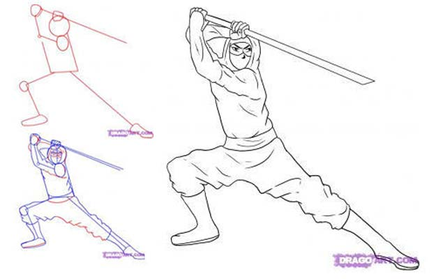 Cool Drawing Tutorials - How To Draw A Ninja - Learn How To Draw Animals, Easy People, Step by Step Drawing and Tutorial With Instructions - Creative Arts and Crafts Ideas for Teens - Shapes, Shading, Buildings, School Art Projects, Drawing for Beginners and Teenagers, Kids http://diyprojectsforteens.com/cool-drawing-tutorials