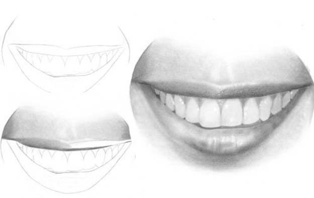 Cool Drawing Tutorials - How To Draw A Mouth and Teeth - Learn How To Draw Animals, Easy People, Step by Step Drawing and Tutorial With Instructions - Creative Arts and Crafts Ideas for Teens - Shapes, Shading, Buildings, School Art Projects, Drawing for Beginners and Teenagers, Kids #drawing #art #drawingtutorials