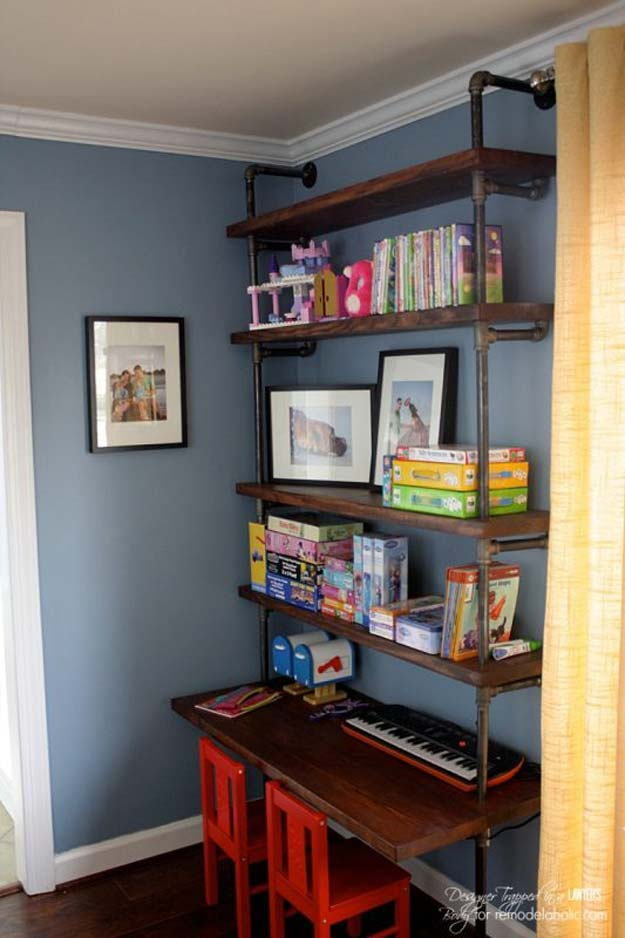 Diy Room Decor Ideas For Boys Pipe Shelves And Desk Teen