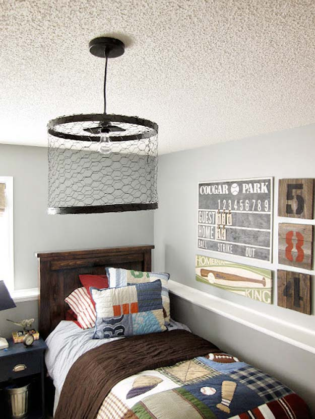 DIY Room Decor Ideas for Boys - - Chicken Wire Light Fixture - Teen Bedroom Decor Idea for Boy - Wall Art, Lighting, Lamps, Shelves, Bedding, Curtains and Rugs for Boy Rooms - Easy Step by Step Tutorials and Projects for Decorating Teens and Tweens Rooms http://diyprojectsforteens.com/diy-room-decor-boys